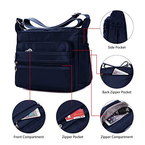 Crossbody Bag for Women Waterproof Shoulder Bag Messenger Bag Casual Canvas Purse Handbag (Small, Navy Blue) by NOTAG (Image #4)