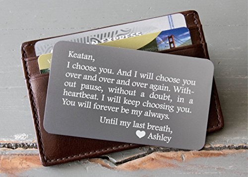 Personalized Wallet Card, Custom Engraved Wallet Insert, Personalized Wallet Card, Mini Love Note, Metal Wallet Card - Anniversary, Valentine's Day, Father's Day, Groom's Gift For Him by InkMeThis Calligraphy & Engraving