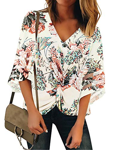 ACKKIA Women's Casual Knot Twist Front V Neck 3/4 Bell Sleeves Blouse Mesh Panel Shirt Top Floral Printed Color Size X-Large