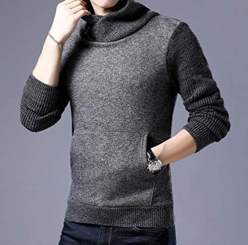 Alto Hombres Jersey Ropa Grau Fashion La Cuello Larga De Los Punto Bolsillo Decoración Suéter Manga Saoye Dunkel Elegante 0zxwtqpYz