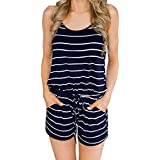 Women Summer Sleeveless Jumpsuit Casual Spaghetti Strap Stretchy Short Pant Rompers(Navy Blue,L)