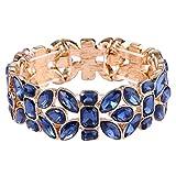 EVER FAITH Women's Austrian Crystal Leaf Teardrop Wedding Elastic Stretch Bracelet Navy Blue Gold-Tone