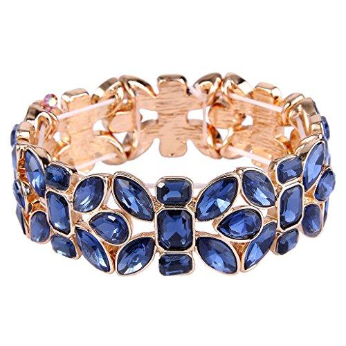 EVER FAITH Women's Austrian Crystal Leaf Teardrop Wedding Elastic Stretch Bracelet Navy Blue Gold-Tone ()