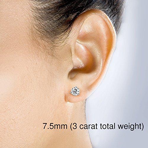 Forever brillant rond en or 9boucles d'oreilles clous en or jaune ou blanc 14K (5mm-8mm)