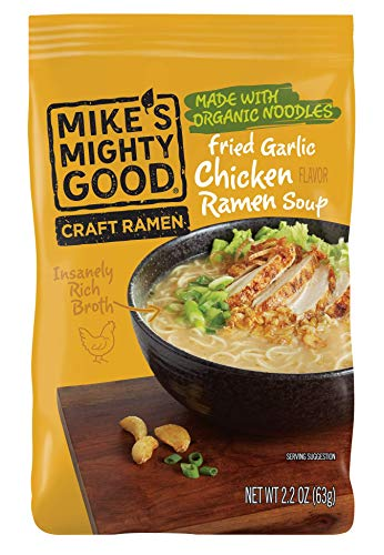 Spicy Mushrooms Garlic - Mike's Mighty Good Ramen Soup Pillow Pack, Fried Garlic Chicken, 2.2 Ounce, 7 Count