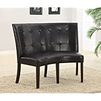 Domusindo Button Tufted Dining Height Banquette in Black Leatherette
