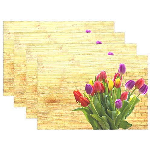 Tulip Nature Flower Easter Plant Spring Blossom Placemats Set Of 4 Heat Insulation Stain Resistant For Dining Table Durable Non-slip Kitchen Table Place Mats ()