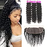 Deep Wave 3 Bundles with Frontal (18 20 22+16) Brazilian Virgin Hair 100% Unprocessed Human Hair Natural Color with Free Part Frontal Hair Extensions