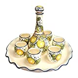 CERAMICHE D'ARTE PARRINI - Italian Ceramic Pottery Set Tray + Bottle + 6 Cups Limoncello Liqueur Shot Glasses Decorated Lemons Hand Painted Made in ITALY Tuscan