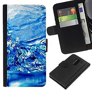 All Phone Most Case / Oferta Especial Cáscara Funda de cuero Monedero Cubierta de proteccion Caso / Wallet Case for LG G3 // Water Effect Blue