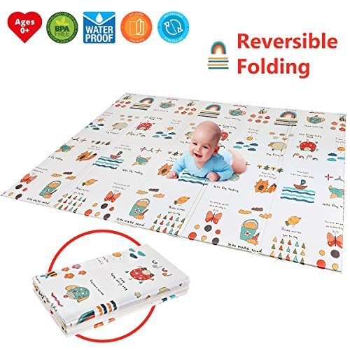 "Folding Kids Play Mat | Portable Baby Play Mat | BPA FREE Non Toxic 78.7"" x 59"