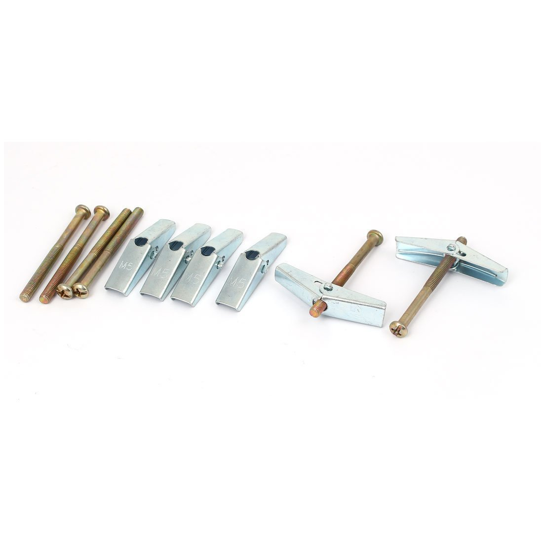 sourcingmap 5mm x 60mm Thread Spring Toggle Hollow Plasterboard Cavity Wall Anchor Bolt 6pcs SYNCTEA030326