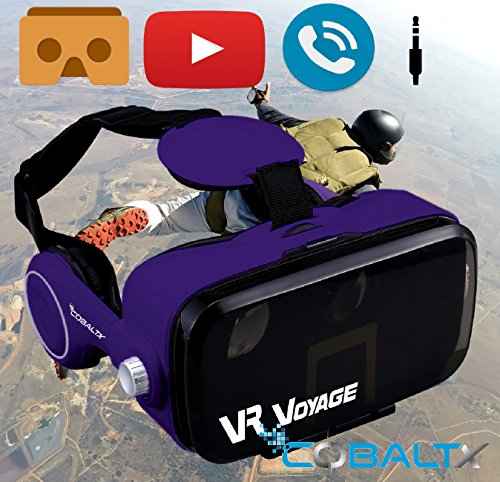 COBALTX 360 Video VR Headset 360 Virtual Reality Glasses For iPhone Android Smartphone VR Box 3D VR Headset Glasses with Built in Stereo Headphones Hands Free Phone AUX input & VR APPS (PURPLE)