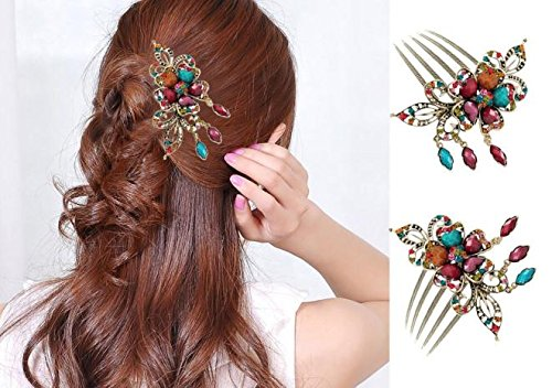 (Little Story  Hairpin, Fashion Women Hair Accessory Retro Rhinestone Flower Tuck Comb Hair Fork)