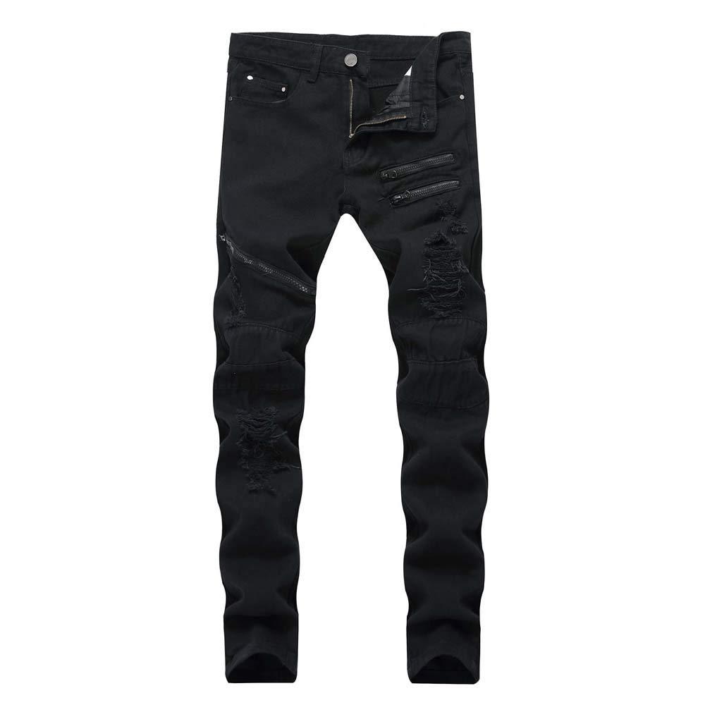 Cinhent Pants Sport Autumn Denim Cotton Breathable Ripped Soft Hole Youth Jeans