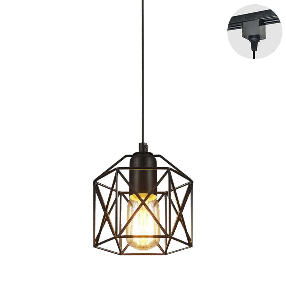 STGLIGHTING 1-Light H-Type Track Light Pendants Restaurant Chandelier Decorative Iron Cage Pendant Light Industrial Factory Pendant Lamp Bulb Not Included