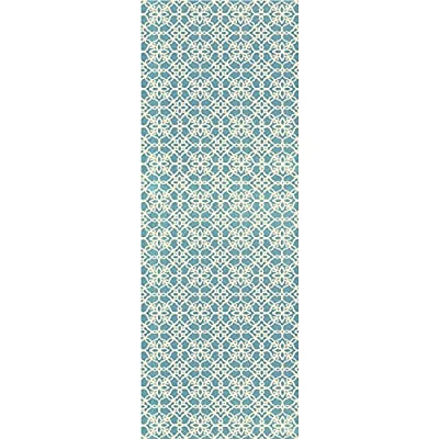 2-Piece Washable Rug System Floral Tiles Aqua Blue & White