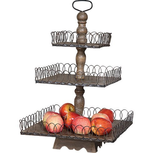3 Tier Wood Fruit Stand in Grey Wash Finish 26.75'' H x 16.5'' W x 16.5'' D