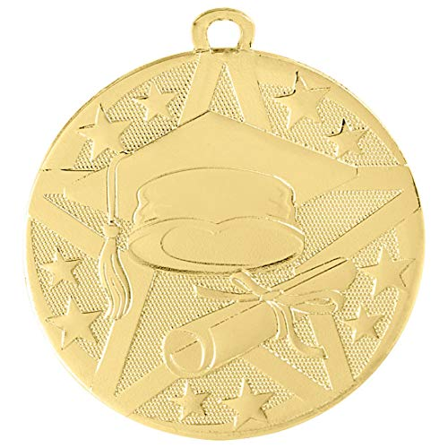 Express Medals 5 Pack Gold Color 1st Place Graduation Medal Award Trophy with Neck Ribbon