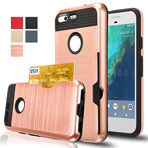 Google Pixel Case, AnoKe [Credit Card Slots Holder][Not Wallet] Hard silicone Rubber Hybrid Armor Shockproof Protective Holster Cover Case for Google Pixel - KLS Rose Gold
