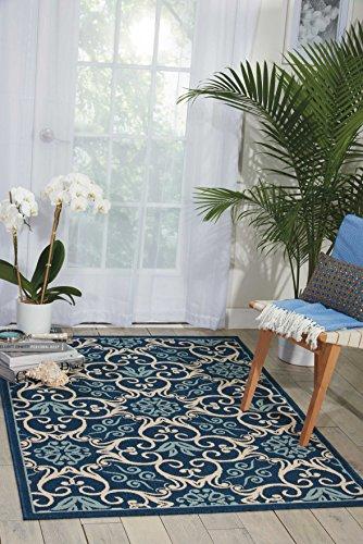 """Nourison CRB02 Caribbean Indoor Outdoor Area Rug, 1'9"""" x 2'9"""", Navy Blue"""