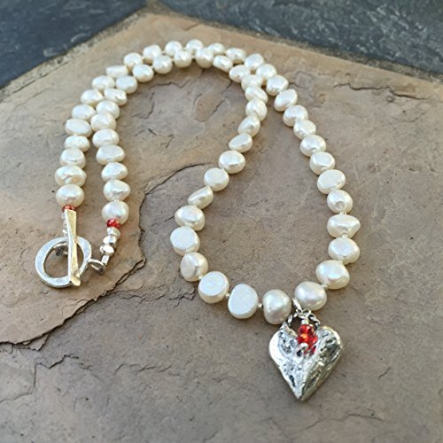 Valentines Day Necklace, Pearl Necklace (Hill Tribe Silver 7mm)