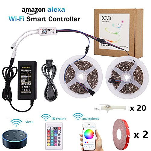 RGB LED Strip Light, BEILAI Wifi Wireless Smart Phone Controlled Light Strip Kit 5050 32.8ft 10M 30led/m 12V LED Light Flexible Neon Tape with 24Key Remote, Working with Android and - Track Number My Order With Order