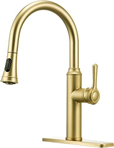 Peppermint Kitchen Sink Faucet Champagne Bronze Bright Gold Single Handle with Pull Down Sprayer High Arc Brass with Deck Plate