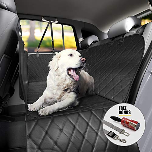 600d Ripstop Poly Oxford - TrioGato Pet Dog Car Backseat Cover - Heavy Duty Hammock Cover, Large Side Flaps. Full Car/SUV Protection - Doors, Backseat & Floor - Waterproof, Nonslip, Washable - Bonus Lint Roller & Dog Seat Belt