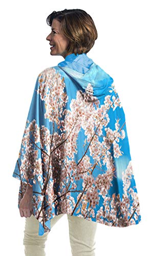 (RainCaper Rain Poncho for Women - Reversible Rainproof Hooded Cape in Gorgeous Ultrasoft Colors (Blue Sky/Cherry)