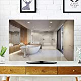 50 inch tub - Analisahome TV dust Cover Spacious and Bright Bathroom with White Tile Mirror Bathtub and Shower Cabin TV dust Cover W25 x H45 INCH/TV 47