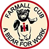 "IH Farmall 6"" Cub A Bear For Work Classic Decal Sticker International Harvester"