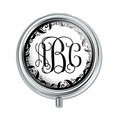 Graphics and More Personalized Custom Pill Case Trinket Gift Box - Monogram Fancy Font Vine ()