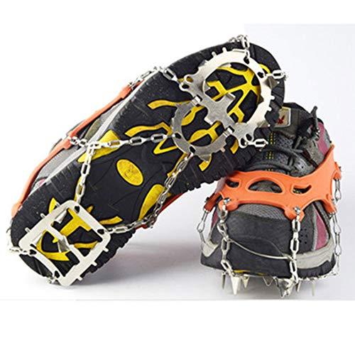 XBTECH Crampones 18 Dientes Zapatos Cubierta Tracción Escalada Puños de Senderismo Acero Inoxidable Picos de Hielo Crampones Apretones de Hielo Esquí Hielo Nieve Antideslizante por XBTECH