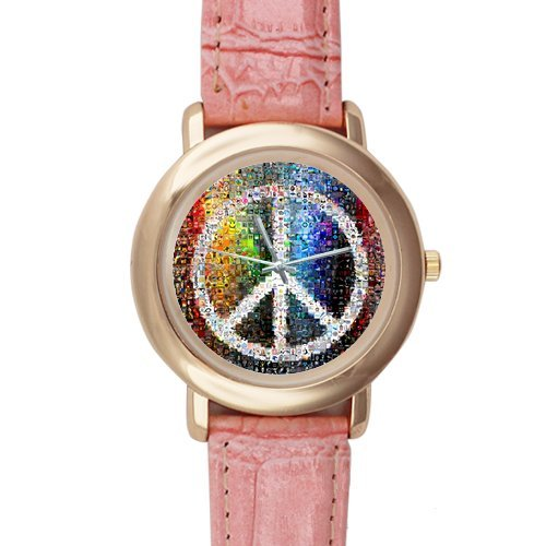 Gifts for girls or ladies Creative Peace Sign Pink Leather Alloy High-grade Watch