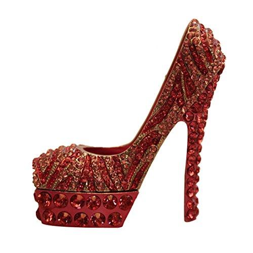 Fashion Ladies' High Heeled Pump Shoe Handmade Jeweled Enameled Metal Trinket (Pink) -