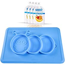 Lovely Minime - One-piece silicone placemat + plate, Toddler baby suction plates with 4 feeding food pouches (Blue)