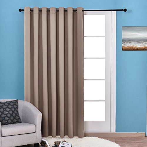 Nicetown Blackout - Wide Width Thermal Insulated Solid Grommet Blackout Curtain Panel for Patio / Sliding Door (One Panel,W100 x L84, - Door Panel Internal
