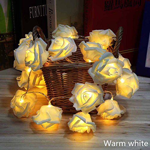 Avanti 20-Light LED Battery-Operated String Light Rose Flower Indoor Outdoor All Occasion Party Decor (Warm White)