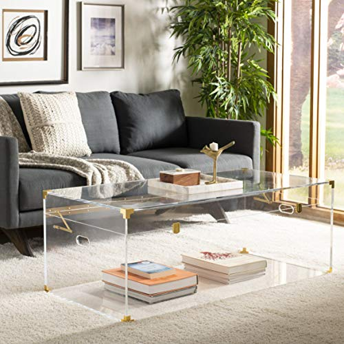 - Safavieh SFV3547A Home Collection Isidra Acrylic Trunk Coffee Table, Clear/Brass
