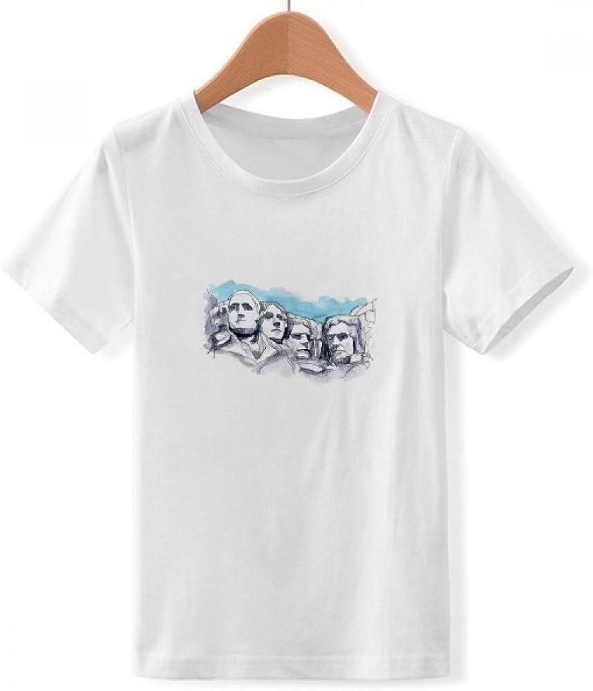 DIYthinker Rushmore Cuello Redondo Monumento Nacional Americano Camiseta para Chico: Amazon.es: Ropa y accesorios