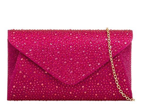 Bag Strap Party Fuchsia New Clutch Embellishment Chain Womens Diamante Envelope qxaaX8v1