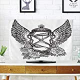 Best Romantic Time TV Trays - LCD TV dust Cover Customizable,Sketchy,Hand Drawn Romantic Hourglass Review
