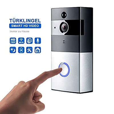 Wireless video to the doorbell Video Doorbell with HD Camera, Wireless Push Button & Wifi Extender (Battery Operated, Chrome Cover)