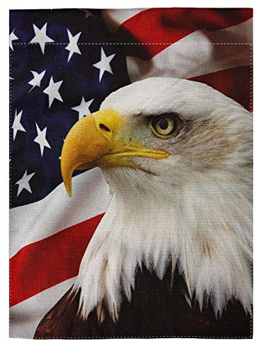 pingpi Eagle on American Flag Double Sided Burlap Garden Flag 12.5