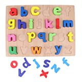 Homyl Kids Wooden Alphabet Blocks a b c Lowercase Letter Puzzle Board Montessori Reading Matching Word Educational Game Teaching Aids Baby Toy Xmas Gift