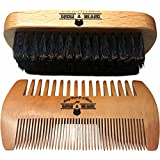 Beard Brush and Comb Set for Men - Friendly Gift Box And Cotton Bag - Best Bamboo Beard Kit for Home and Travel - Great for Dry or Wet Beards - Adds S