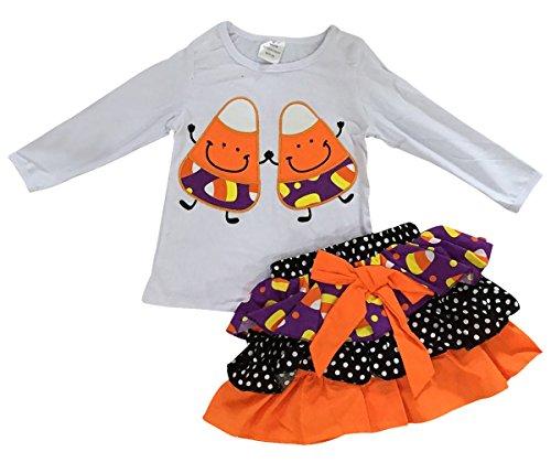 Big Girls' 2 Pieces Skirt Set Halloween Polka Dot Skirt Kids White Polka 7 XXL (P400020P) ()