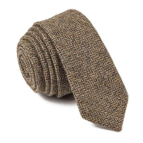Check Skinny Tie - VOBOOM Mens Necktie Skinny Tie Tweed Pattern Woolen Neck Tie-many colors (06-017 Beige)