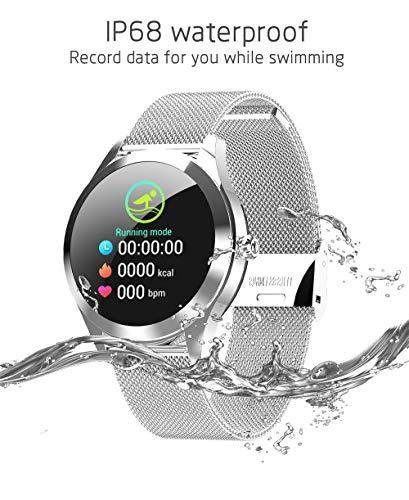 ... Bracelet Screen Dynamic Dial/Waterproof/Heart Rate Test/Clock Display/Stopwatch/Suitable for Running/Cycling/Basketball/Swimming,White: Home & Kitchen